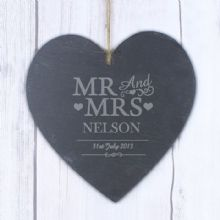 Large Mr & Mrs Slate Heart